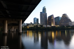 Downtown Austin reflected before dawn