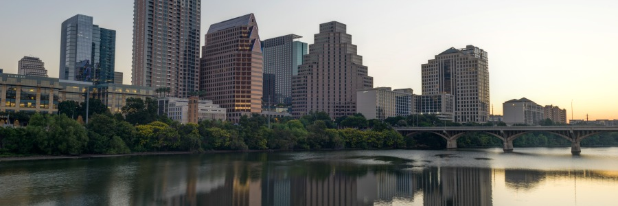 Downtown Austin before dawn reflected HDR