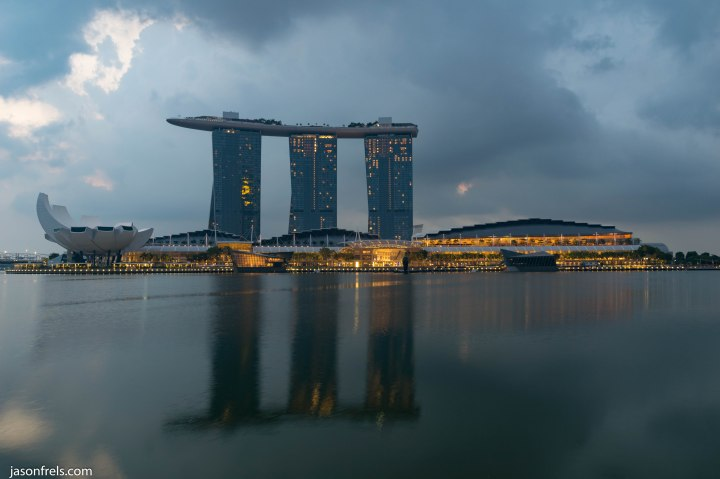 Singapore marina bay reflected at dawn