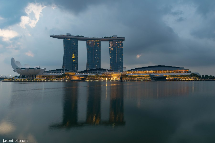 Singapore marina bay reflected at dawn