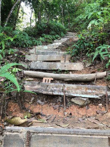 Hiking trail steps in Penang Malaysia