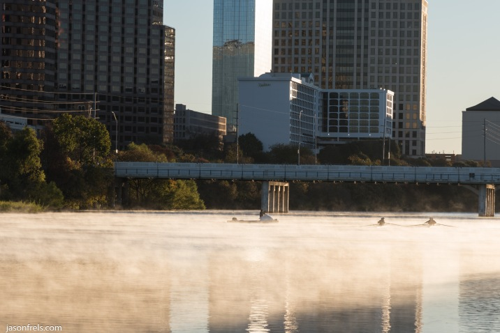 Austin Texas Lady Bird Lake rower sunrise