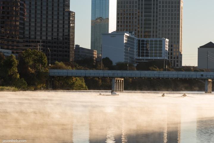 Austin Texas Lady Bird Lake rower sunrise