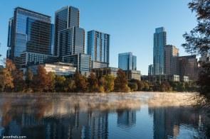 Austin Texas skyline Lady Bird Lake dawn