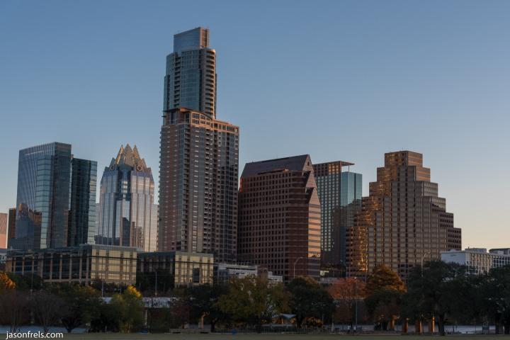 Austin Texas skyline at sunrise