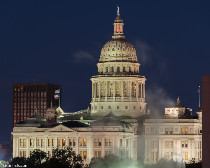 Texas State Capitol Building in Austin before dawn
