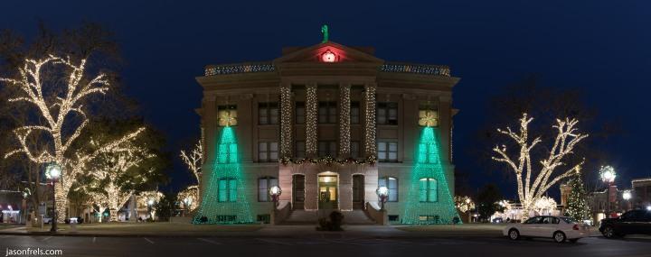 Georgetown Texas Courthouse Christmas lights panorama