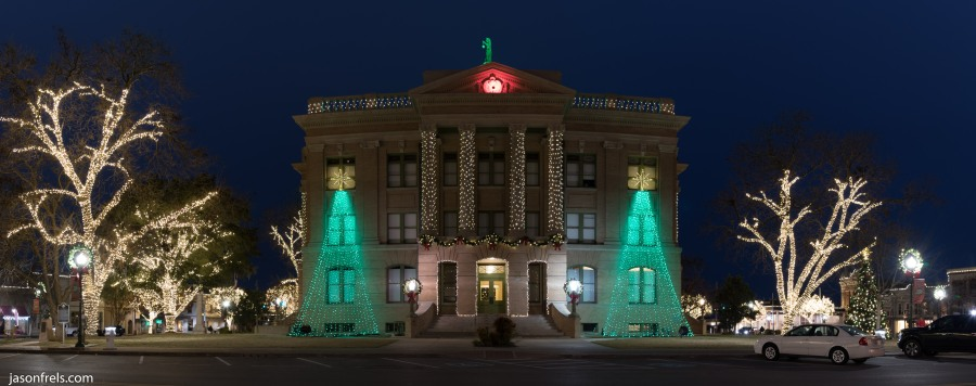 Georgetown Texas Courthouse Christmas lights panorama