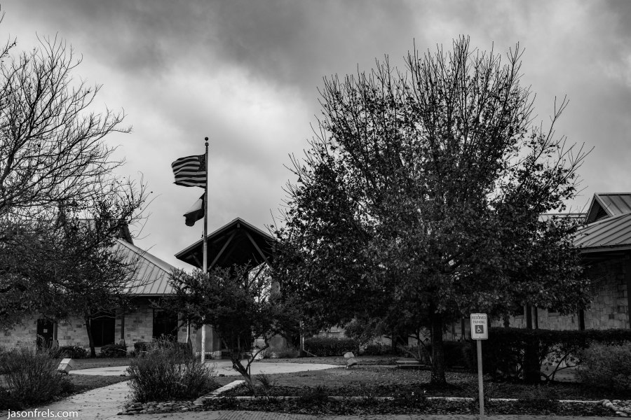 Leander Public Library Cloudy Day black and white