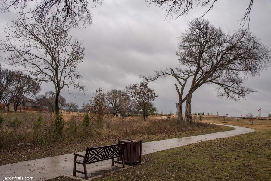 Leander park bench on a cloudy day