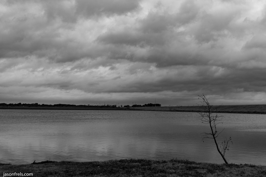 Devine Lake park in Leander on a gloomy day black and white
