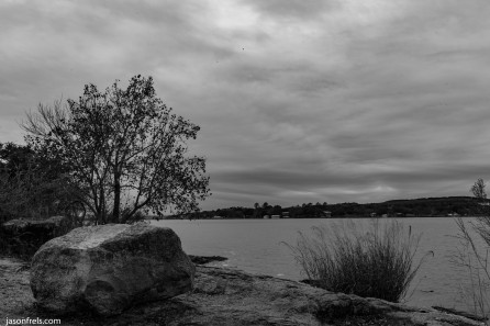 Ink Lake cloudy day in black and white
