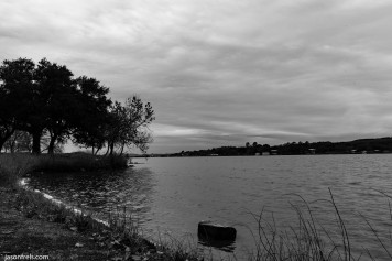 Inks Lake cloudy day in black and white