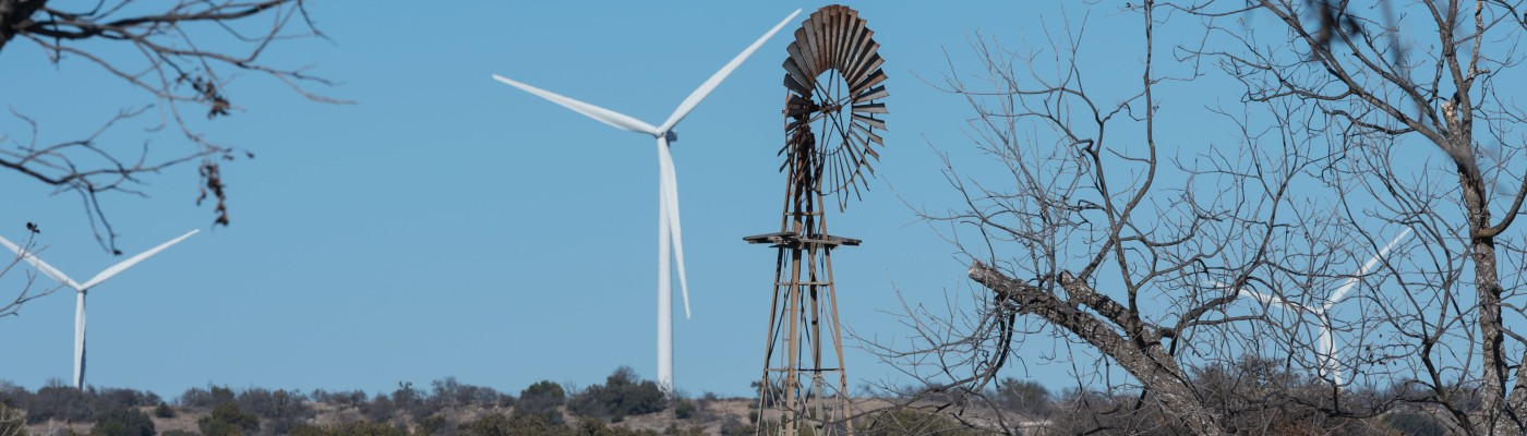 Old and new windmills in Texas