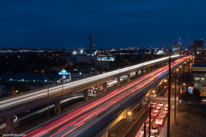 Long Exposure car light trails Austin Texas