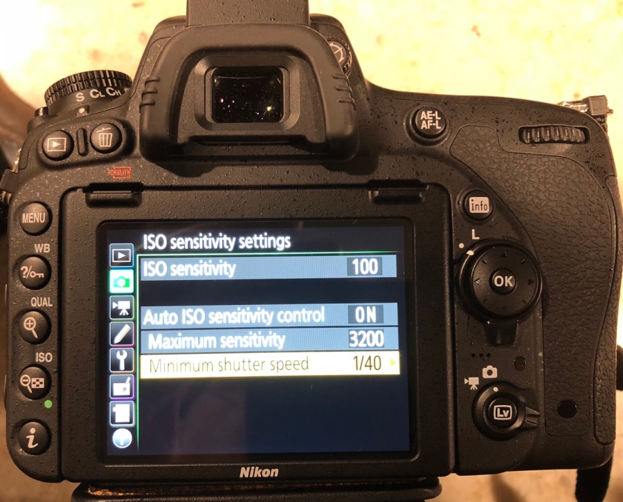 Nikon D750 Auto ISO Menu taken with iPhone8S