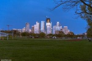 Austin Texas skyline at dusk twilight