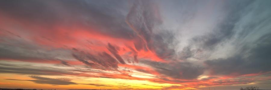 Fiery HDR sunset from Gruene Texas Gruene River Inn