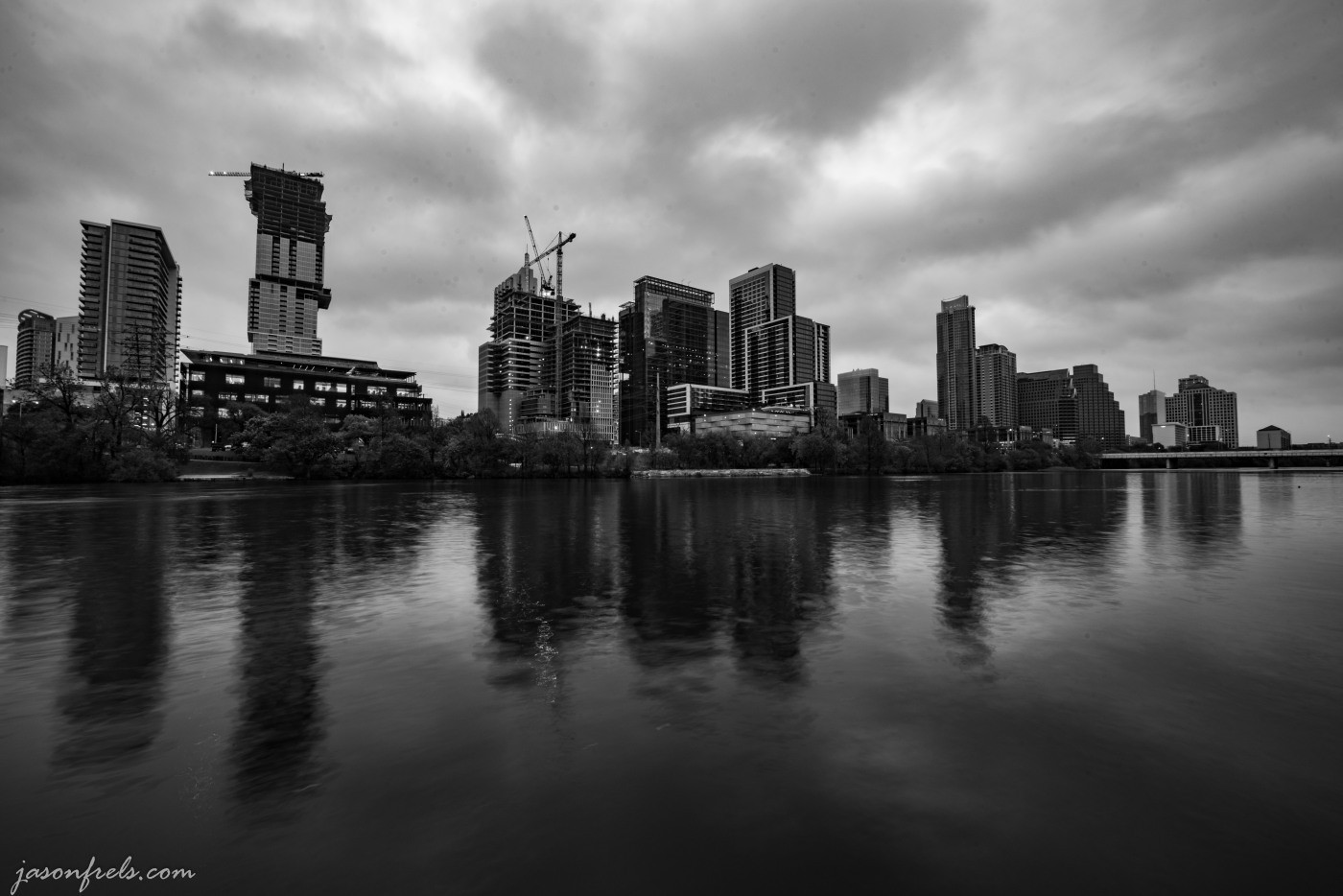 Austin Texas skyline cloudy morning at sunrise in black and white