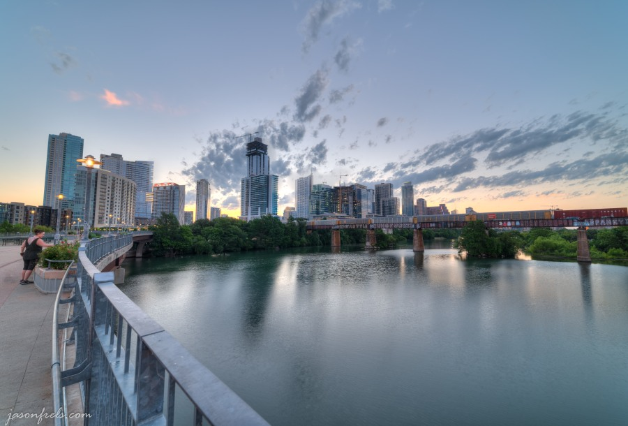 Pedestrian bridge in downtown Austin at sunrise in HDR