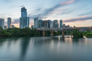 Long Exposure of Downtown Austin Texas at sunrise