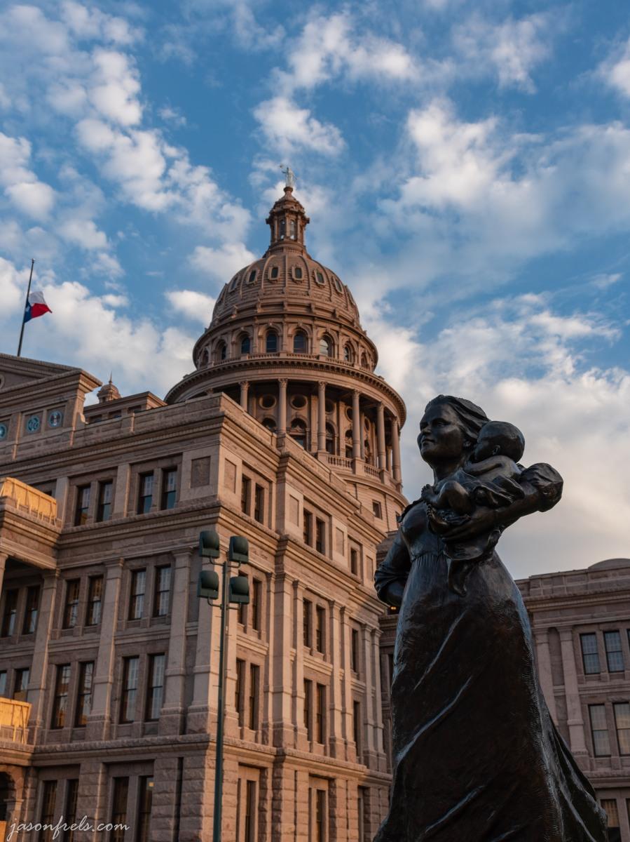 Austin Texas capitol building frontier woman statue