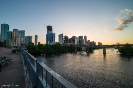 Pedestrian bridge in downtown Austin at sunrise