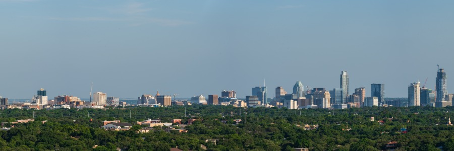 Austin city skyline panorama taken from Mt. Bonnell Texas