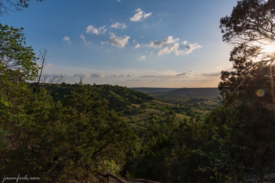 Balcones Canyonlands National Wildlife Refuge sunset on hiking trail