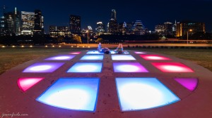 Colored lights at the Long Center in Austin Texas downtown at night