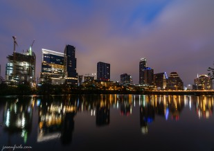 Downtown Austin Texas at predawn twilight reflected in Lady Bird Lake
