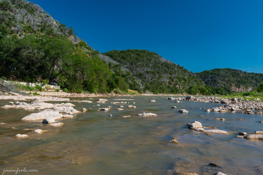 Colorado River in Texas with polarizer filter