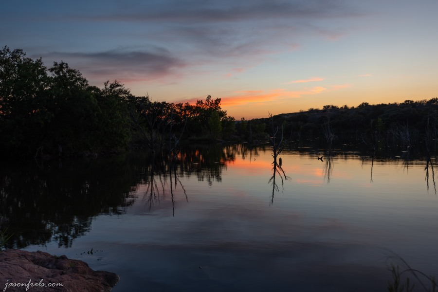 Inks Lake State Park Texas sunset blue hour reflection