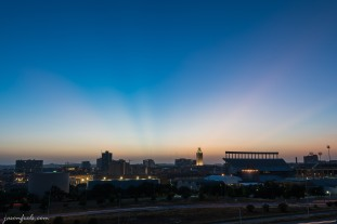 Sunset over University of Texas at Austin at blue hour
