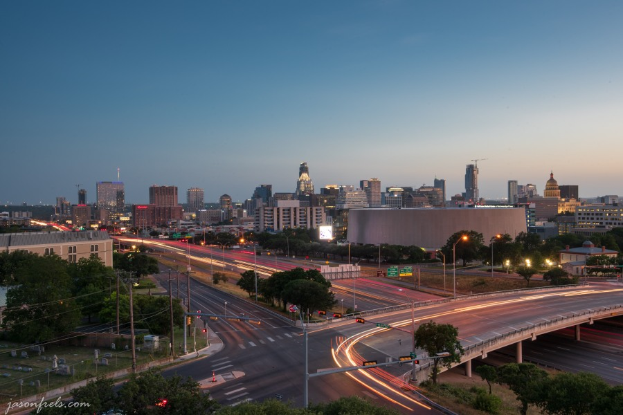 Long exposure of Austin Texas downtown skyline at sunset