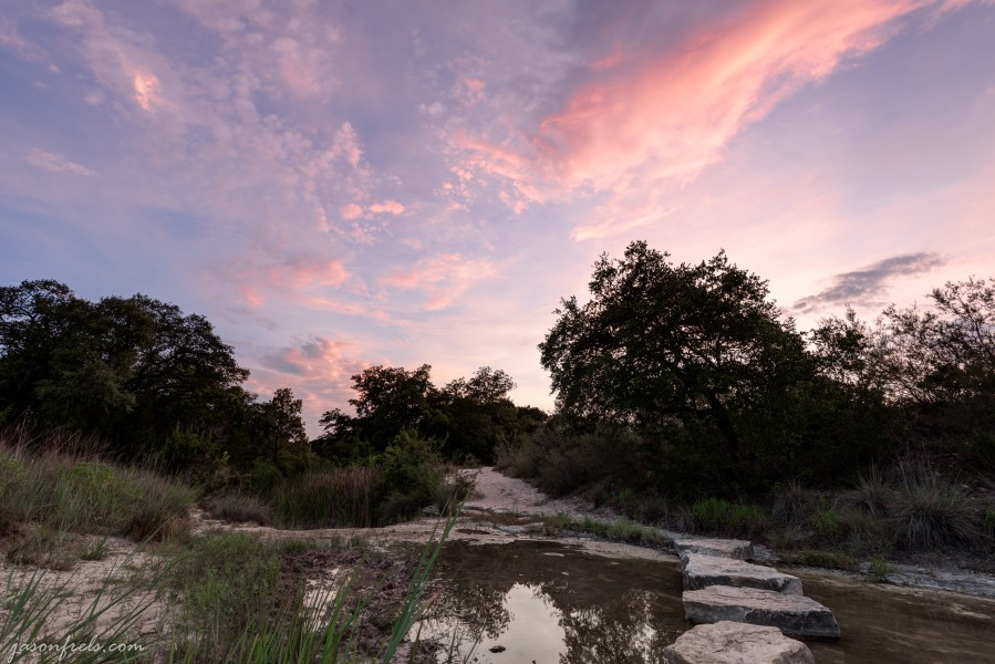 Stones across the creek at Balcones Canyonlands National Wildlife Refuge Texas. HDR