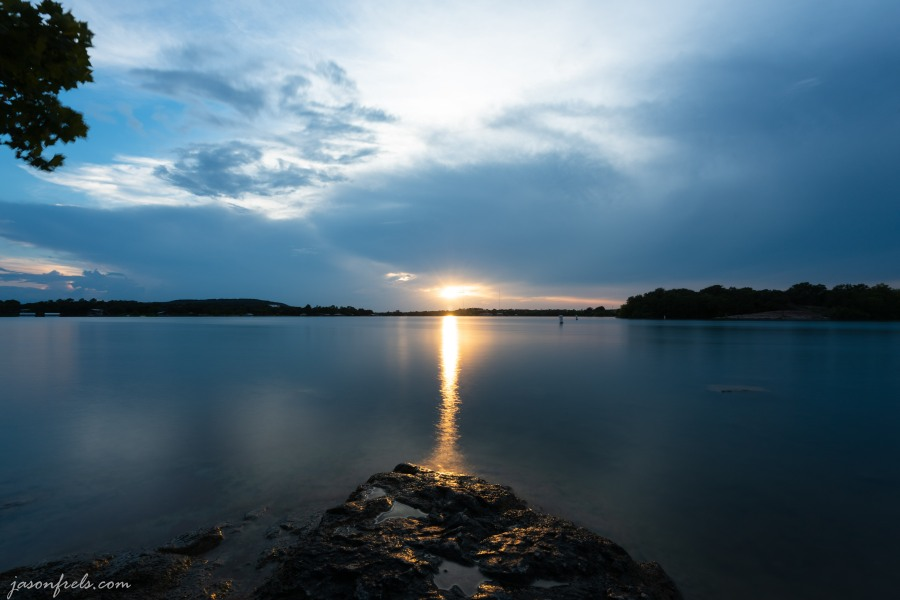Sunset over Inks Lake Texas with long exposure