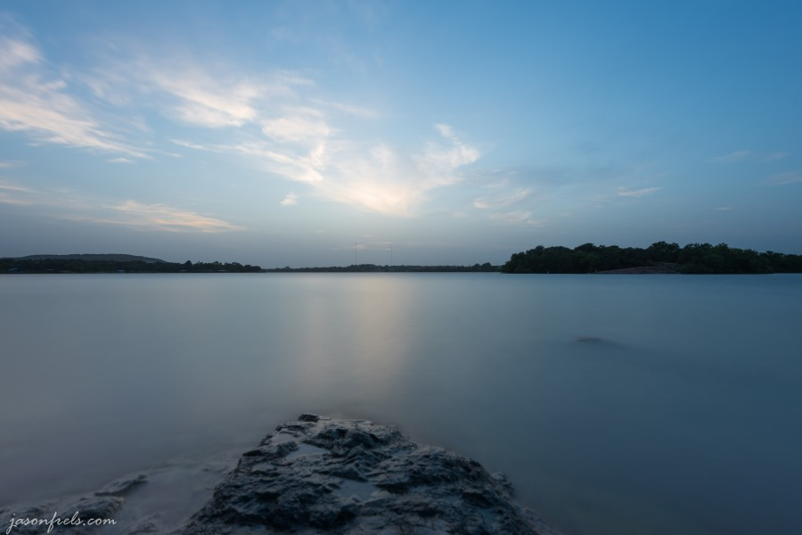 Long exposure of Inks Lake Texas after sunset