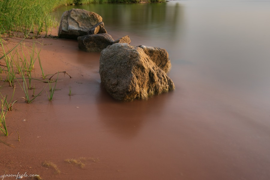 Boulders in the evening sun at Inks Lake State Park Texas long exposure