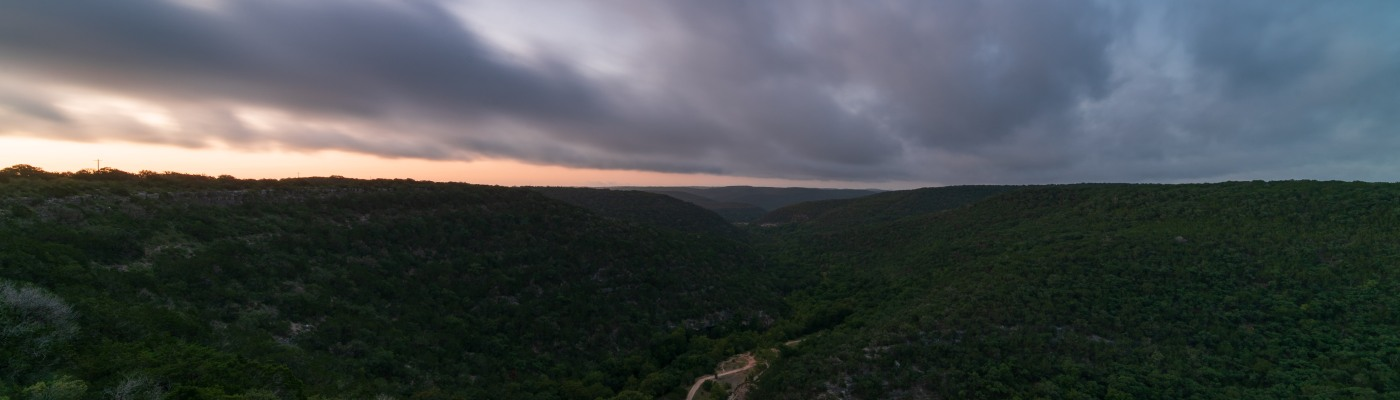 Dawn at Lost Maples State Natural Area Texas from the edge of a cliff