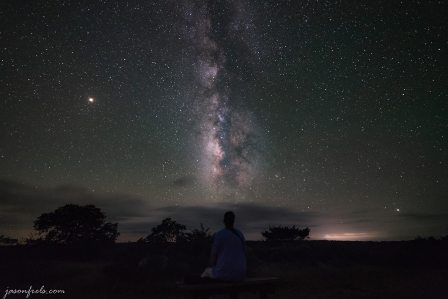 Milky Way with me on park bench at Lost Maples State Natural Area Texas