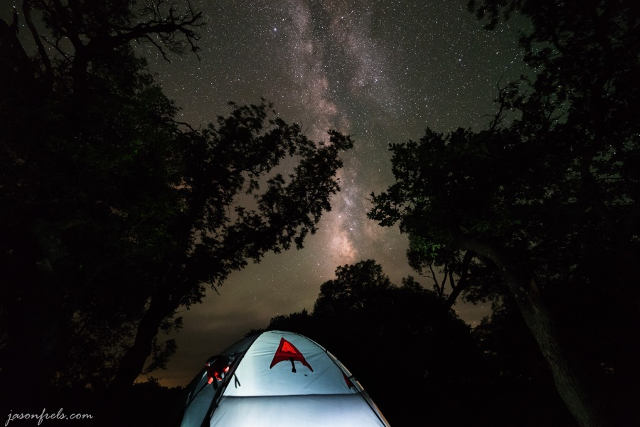 Milky Way over camping tent at Lost Maples State Natural Area Texas
