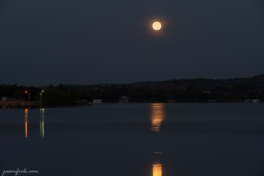 Full Moon setting over Inks Lake Texas