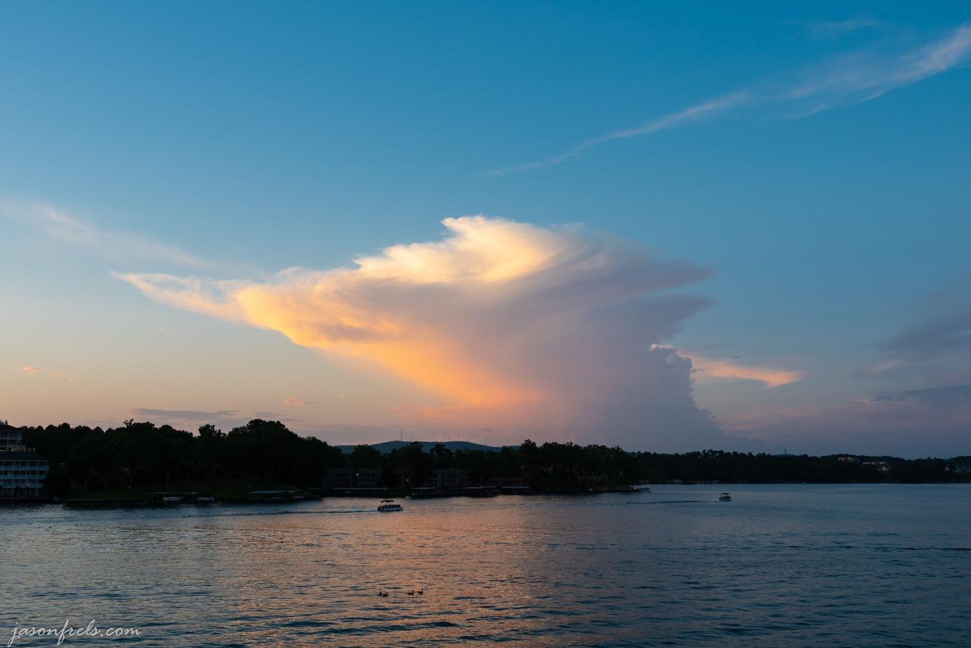 Sunset clouds over Lake Hamilton in Hot Springs Arkansas