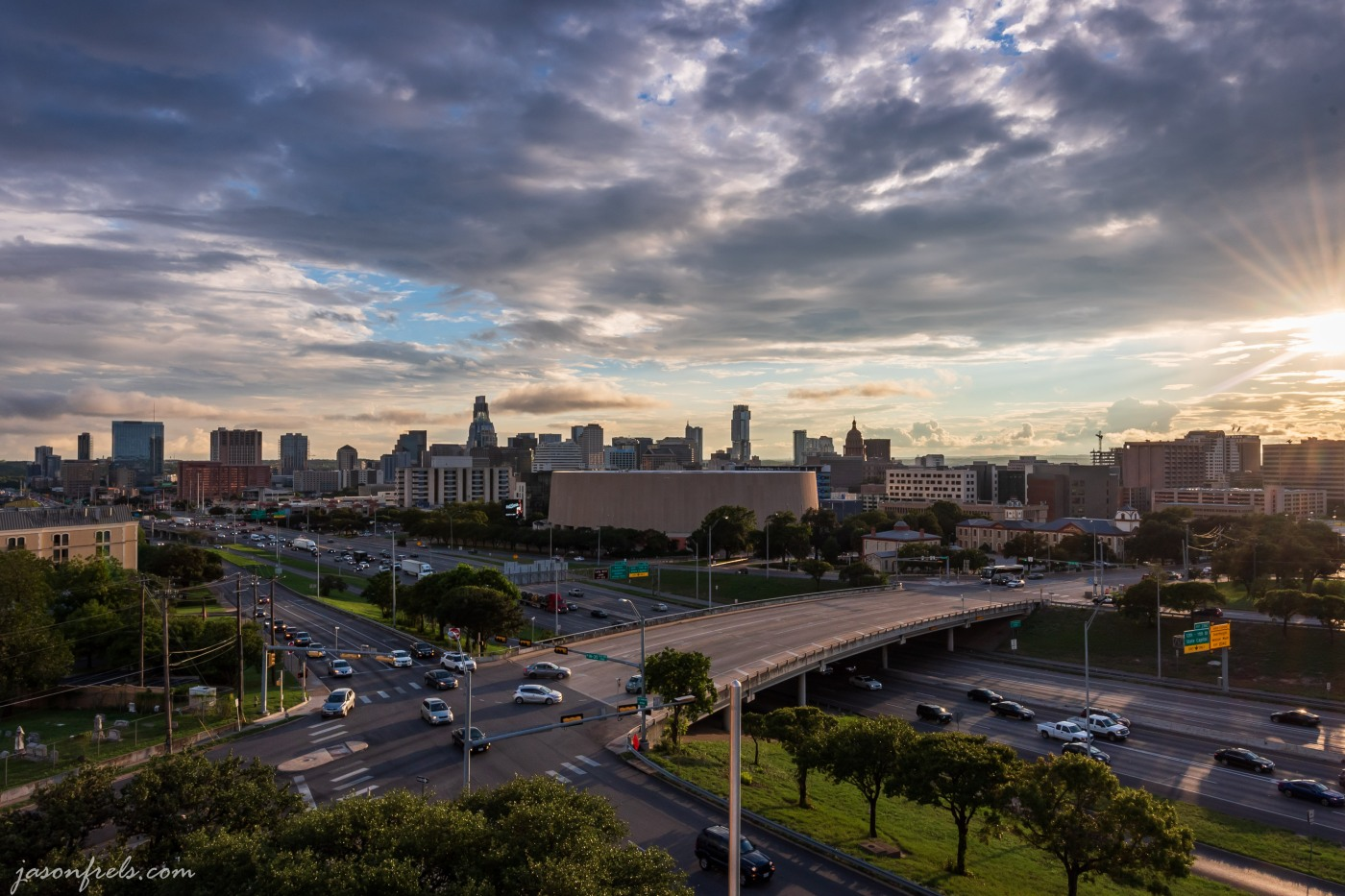 Downtown Austin Texas skyline at sunset HDR merge