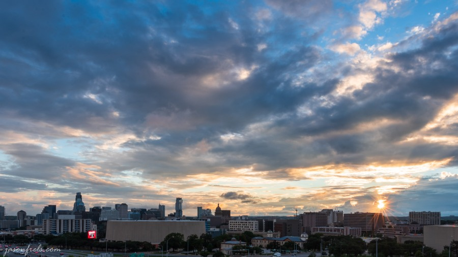 Downtown Austin Texas skyline at sunset