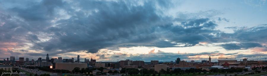 Downtown Austin Texas skyline panorama at sunset
