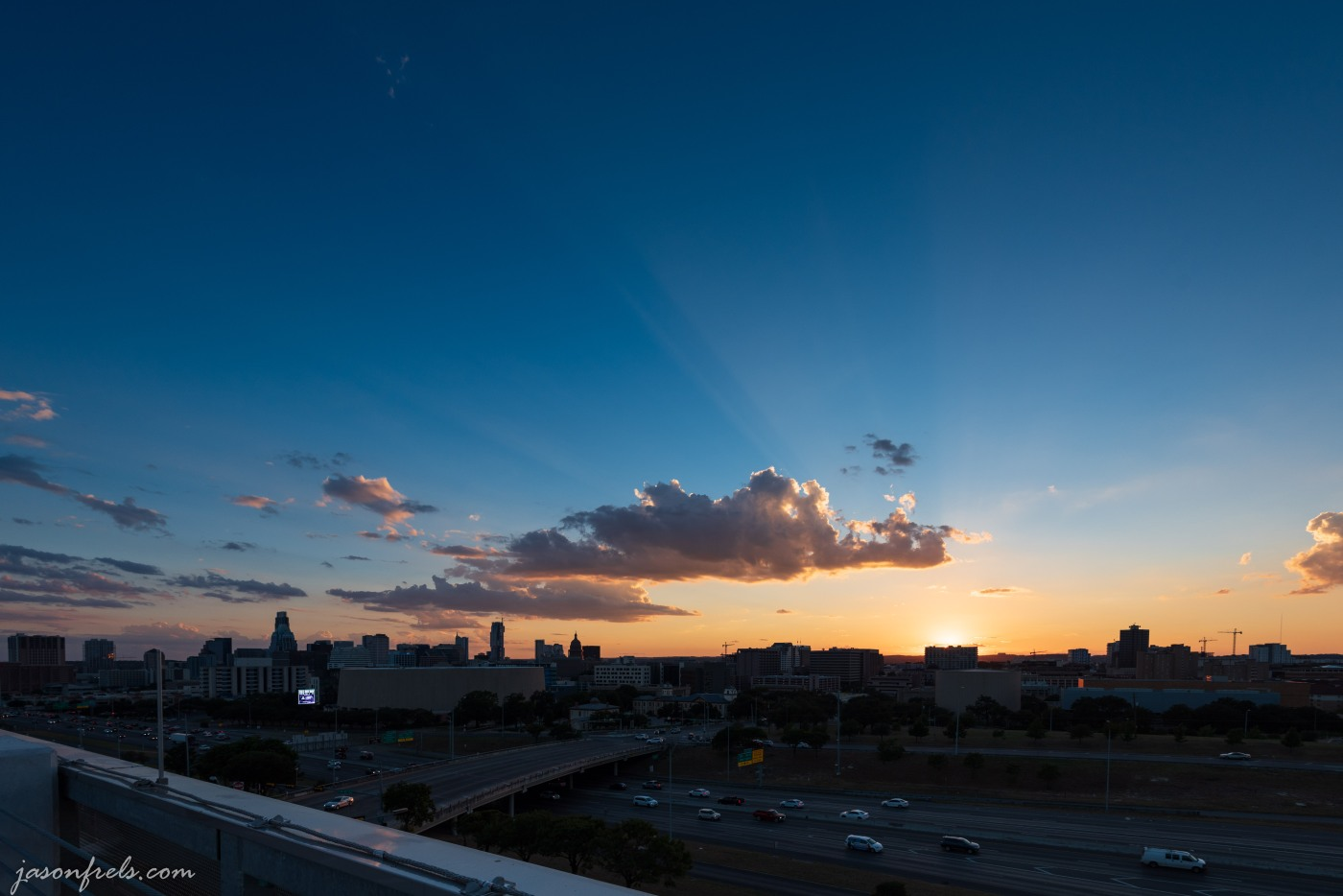 Sunset over downtown Austin Texas