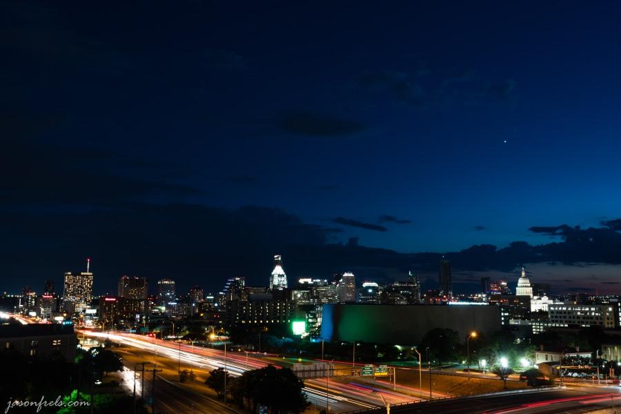 Downtown Austin Texas at blue hour twilight.