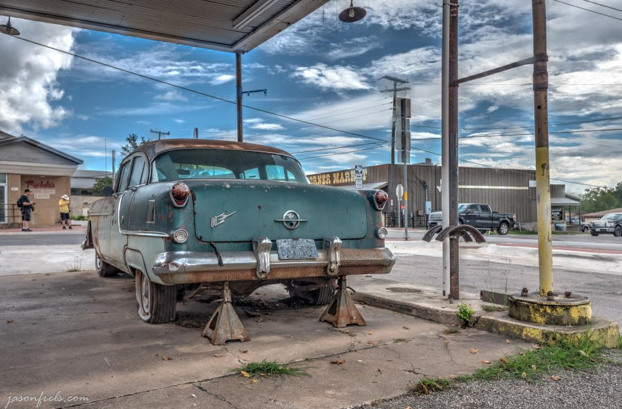 HDR Merge of Rusty Old Oldsmobile in Liberty Hill Texas